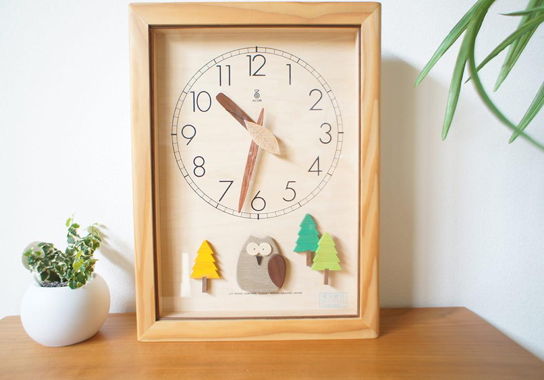 電波時計 森の電葉時計(フクロウ振子)