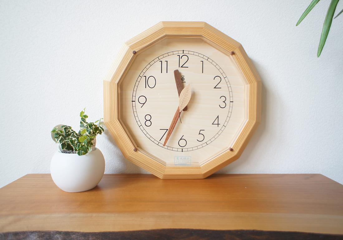電波時計 森の電葉時計(12角形)